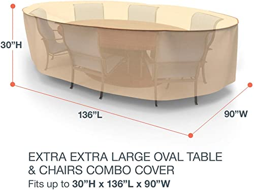 EmpirePatio Select Tan Oval Patio Table and Chairs Combo Cover, Extra Extra Large