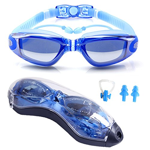 Swim Goggles Anti Fog - Clear Swimming Goggles UV Protection - Comfortable Water Eye Glasses No Leaking with Free Protection Case for Adult Men Women Youth Kids Girls Made by XINGZHE (Blue, Clear)