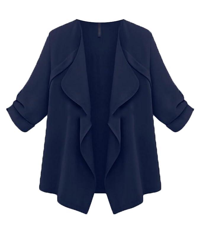 Amazon.com: wsplyspjy Mujeres Plus Size Cascada Outwear ...