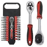 Spares2go 27 Piece 1/4' Ratchet Wrench, Socket & Driver Bit Set (Torx, Phillips, Flat, Hex, Allan Key, Security, 3mm - 14mm