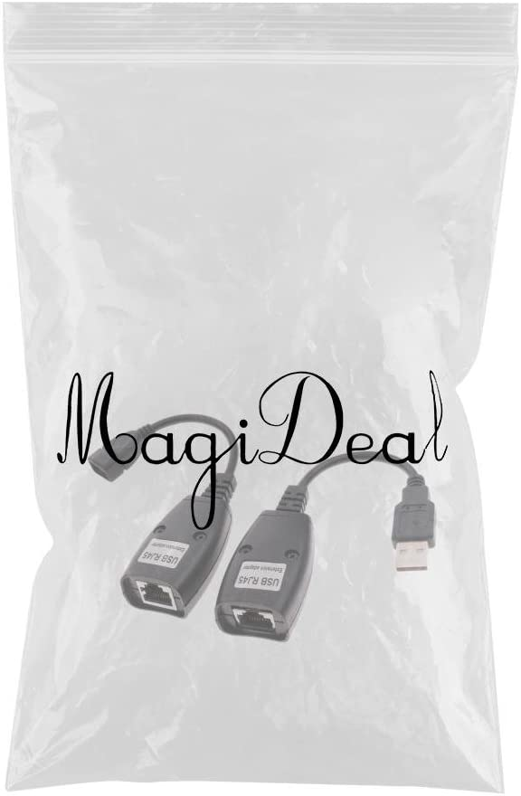 MagiDeal Pack of 2 USB 2.0 Male to RJ45 Female CAT5 CAT5e CAT6 Cable Lan Extender