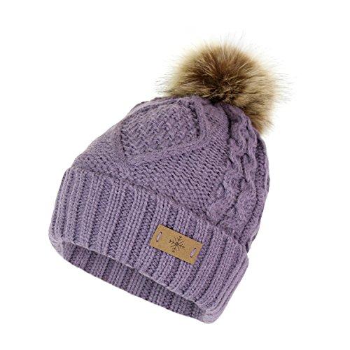 Cable Knit Ski Cuff Beanie Hat w/ Fur Pom Pom and Snow Tag- Soft Stretch Winter Cap (Lavendar)