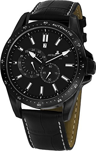 Jacques Lemans Liverpool Automatic 1-1775D 48mm Automatic Ion Plated Stainless Steel Case Leather Mineral Men's Watch