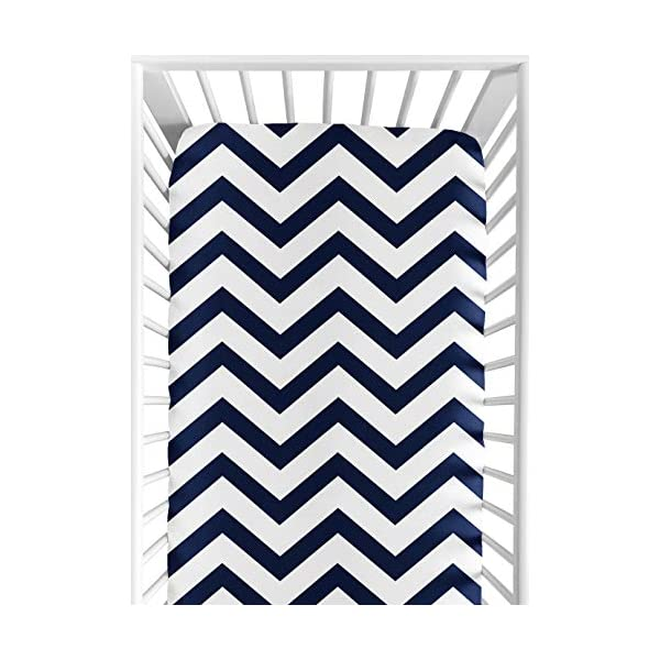 Sweet Jojo Designs Fitted Crib Sheet for Navy and White Chevron Baby/Toddler Bedding – Zig Zag Print