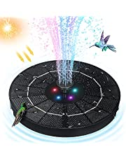 Solar Foutain, FhonLee 3.8W Solar Powered Water Fountain Pump for Bird Bath, Solar Floating Fountain with 1800mAH Battery and 6 Nozzles for Outdoor, Garden, Pool, Pond and Fish Tank (The LIghts Show at Night)