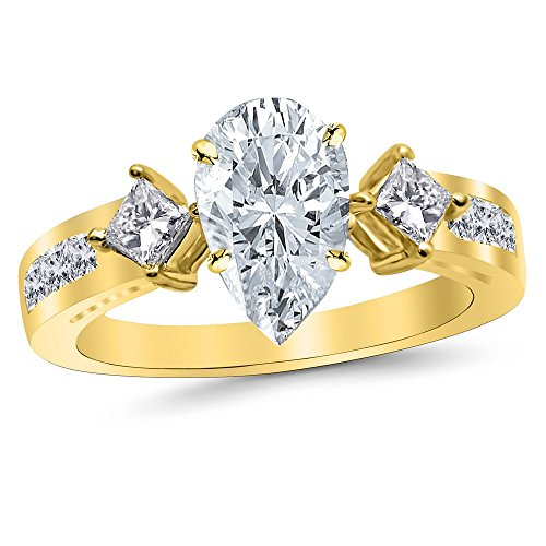 14K Yellow Gold 2.35 CTW Channel Set 3 Three Stone Princess Diamond Engagement Ring w/ 1.5 Ct GIA Certified Pear Cut F Color VS2 Clarity Center