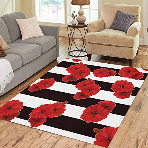- Semtomn Area Rug 5' X 7' Colorful Black Red Poppy Flowers Pattern Striped White Floral Home Decor Collection Floor Rugs Carpet for Living Room Bedroom Dining Room