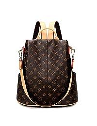 Women Backpack Purse Soft PU Leather Fashion Anti-Theft Lightweight School Ladies Travel Shoulder Bag Black
