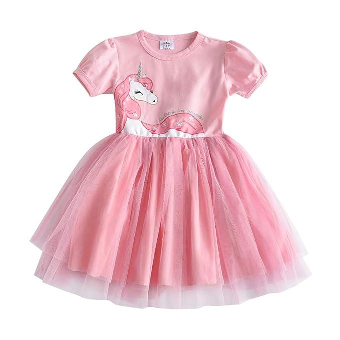 8fd848e8fcb3 DXTON Toddler Summer Casual Cotton Short Sleeve Girl Tutu Party Princess  Dresses SH4570-2T