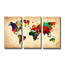 "Pictures on canvas length 63"" height 35"" Nr 1169 world map ready to hang, brand original Visario !"