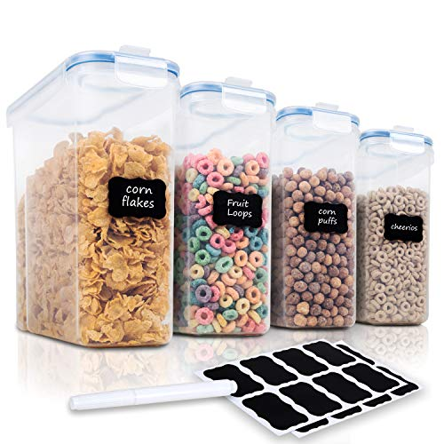 Cereal Container Storage Set - 4 Piece Airtight Large Cereal Storage Containers, BPA Free Dispenser Cereal Storage Container Set with Free Labels & Pen (135.2oz) - FOOYOO
