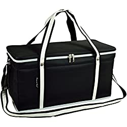 Picnic at Ascot Ultimate Day Cooler- Combines Best Qualities of Hard & Soft Collapsible Coolers - Black