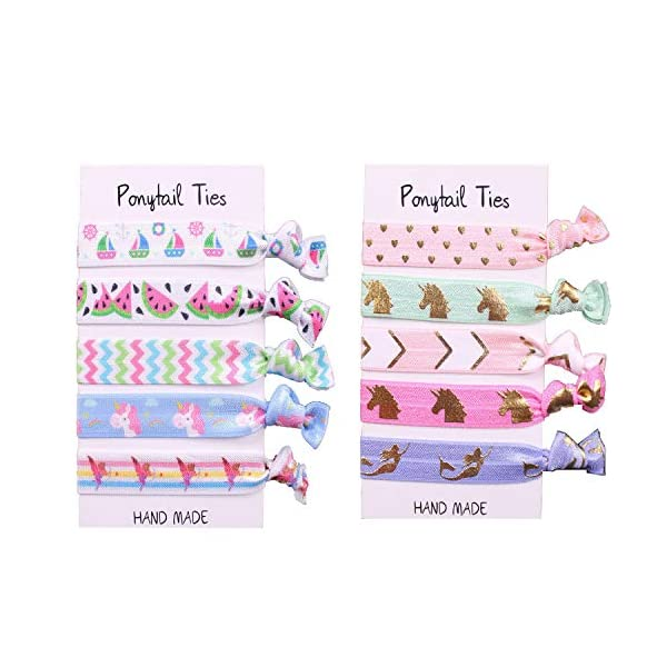 Oexper 40 Pieces Unicorn Hair Ties Elastic Ponytail Holders No Crease Hair Styling Accessories for Girls Toddlers Women Kids Children Adults with Free Gift 1 Sheet Unicorn Temporary Tattoos 5