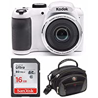 "Kodak PIXPRO AZ252 Point & Shoot Digital Camera with 3"" LCD (White) with 16GB Card and SwissGear Sherpa Large Camera Case"