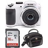 "Kodak PIXPRO AZ252 Point & Shoot Digital Camera with 3"" LCD (White) with 16GB Card and SwissGear SHERPA Large Camera Case"