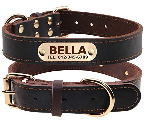 Personalized Leather Dog Collars, Thick Genuine Leather, Laser Engraved Nameplate, Clear On Collar ID Tags,Fits Large Dogs,Brown ()