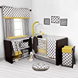 Bacati - Dots/pin Stripes Grey/yellow 10 Pc Crib Set Including Bumper Pad
