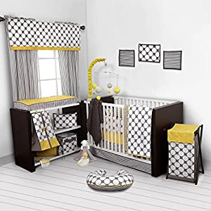 Bacati – Dots/pin Stripes Grey/Yellow 10 Pc Crib Set Including Bumper Pad 100 Percent Cotton Includes Free Plush Blanket if You Buy from Seller BACATI
