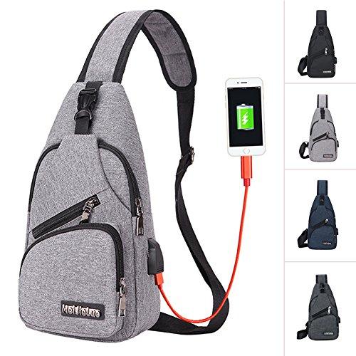 Sling Bag Men Chest Shoulder Backpack Crossbody Bag with USB Charging Port for Women Hiking Cycling Camping Daypacks