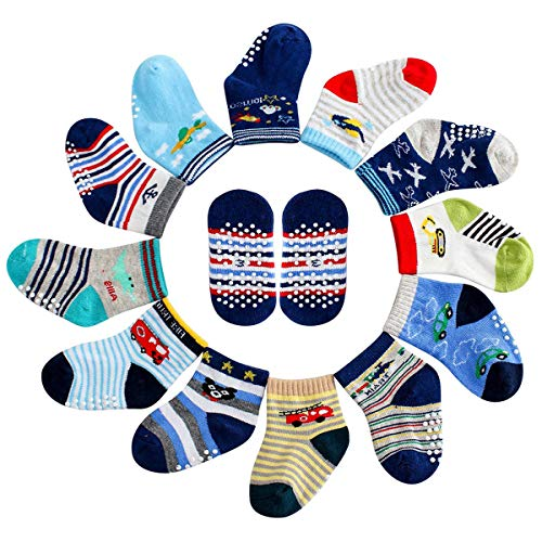 (MAYBOX 12 Pairs Assorted Non-Skid Anti Slip Crew Socks With Grips For Baby Toddlers Boys Socks with Grip 12-36 Months)