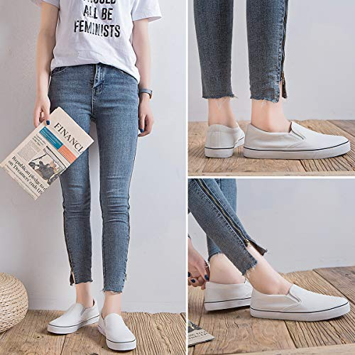 Women's Canvas Slip On Sneakers Fashion Flats Shoes White Canvas Shoes(8.White)