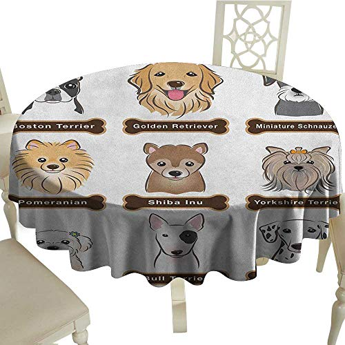 - longbuyer Dog Dinner Picnic Table Cloth Various Type of Dogs Nameplate Boston Terrier Domestic Animal Faithful Loyal Diameter 70