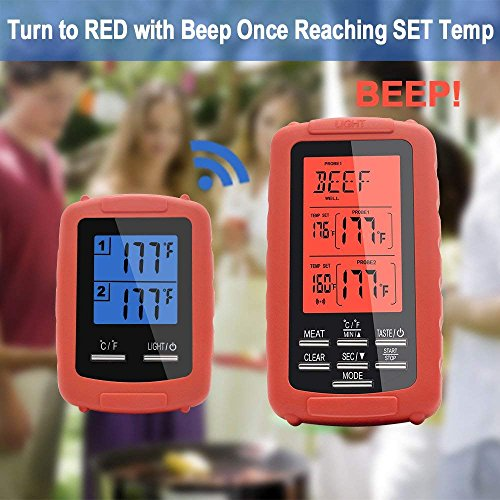 Meat thermometer digital grill oven or Highly smoker remote-reading food thermometers   The best wireless accessories for safe remote bbq grilling, kitchen cooking and smokers (red) by TBvechi (Image #3)