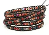 "BLUEYES COLLECTION ""Bohemia"" Multi Color Faceted Cut Genuine Agate Leather Bracelet, 5 Wraps, 4mm/bead"