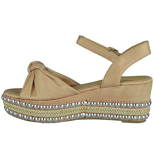 Look Sandalen Damen Damen Keilabsatz Plattform Slingback Schnalle mit Loud Pink Schuhe 8 Espadrilles Größe 3 RZgwxZ4d