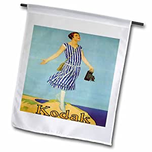3dRose fl_163706_2 Image of Lady Holding Early 1900S Kodak Camera Garden Flag, 18 by 27""