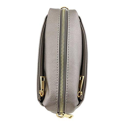 Bag Small Zip Pewter Crossbody Triple zRqUwa5t