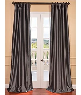 Half Price Drapes PTCH BO005 96 Blackout Faux Silk Taffeta Curtain, Graphite