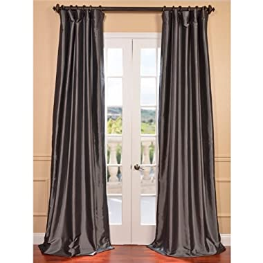 Half Price Drapes PTCH-BO005-120 Blackout Faux Silk Taffeta Curtain, Graphite