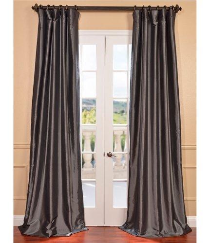 Silk Curtain (Half Price Drapes PTCH-BO005-96 Blackout Faux Silk Taffeta Curtain, Graphite)
