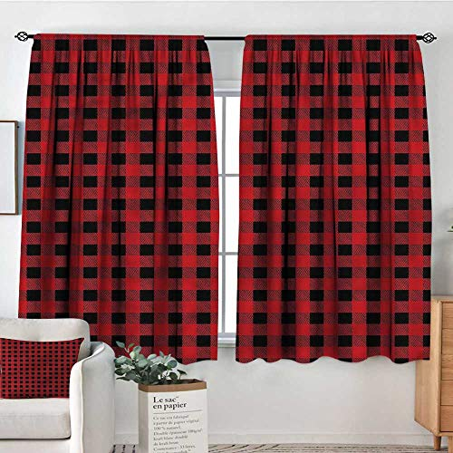 Red and Black,Personized Curtains Chess Board Squares 42