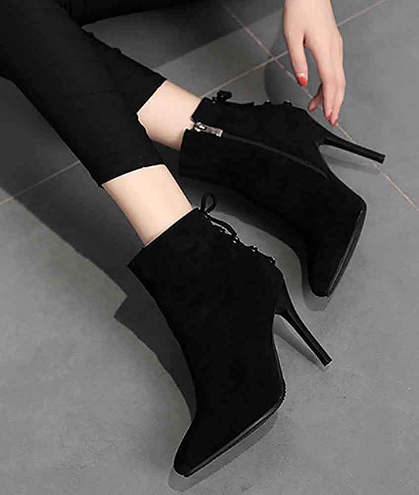 Unm Womens Pointed Toe Ankle Boots Zipper Elegant Party Faux Suede Booties Dressy Stiletto High Heels