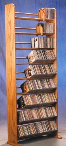 (9 Row Dowel CD Rack (Honey Oak))