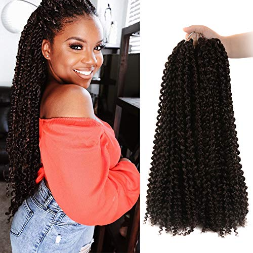 6 Packs 18 inch Passion Twist Braiding Hair Extensions Synthetic Water Wave Crochet for Bohemian Twist Low Temperature Fiber (18 inch, 4)