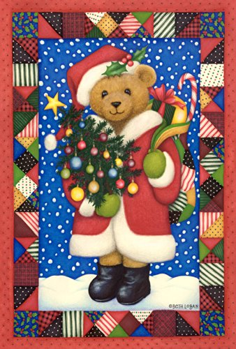 Toland Home Garden Santa Bear 12.5 x 18 Inch Decorative Colorful Christmas Quilt Design Holiday Gift Garden Flag