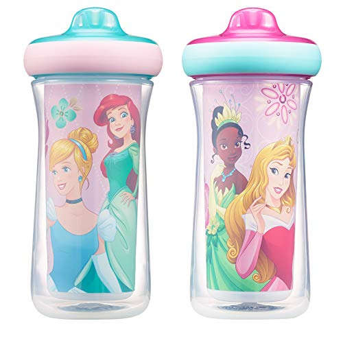 Disney Princess Insulated Hard Spout Sippy Cups 9 Oz, 2pk | Scan with Free Share the Smiles App for Cute Animation | Share with Friends | Leak Proof Cups | -