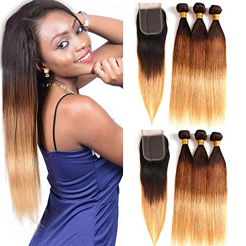 - Ombre Brazilian Hair 3 Tone Bundles with Lace Closure, Ombre Straight Human Hair Weaves and Lace Closure (22 24 26with20, T1b/4/27)