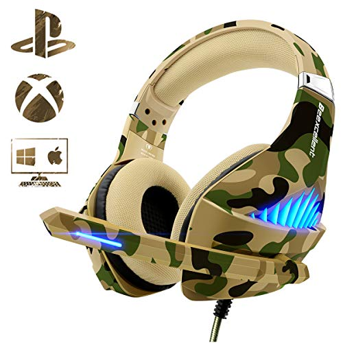 Gaming Headset for Xbox One PS4 PC, Beexcellent Deep Bass Headphone with Mic & LED Light, Noise Immunity, Friction-Reduction Cable, High-Comfort Earmuff(Dazzle Camo) ()