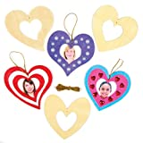 make your own photo frame - Heart Wooden Photo Frame Decoration Kit for Children to Make for Valentines Day - Mothers Day Craft for Kids (Pack of 8)
