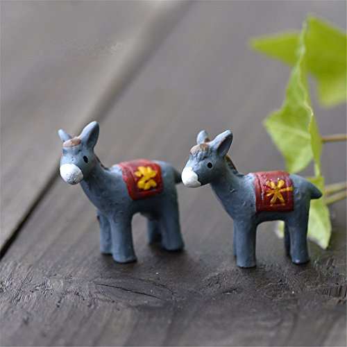 Danmu 2pcs Mini Resin Donkeys Miniature Plant Pots Bonsai Craft Micro Landscape DIY Decor