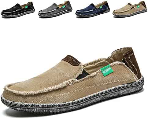 4fe11df7e19 Men s Slip on Deck Shoes Loafers Canvas Boat Shoe Non Slip Casual Loafer  Flat Outdoor Sneakers