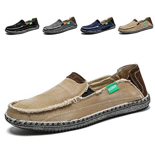 Men's Slip on Deck Shoes Loafers Canvas Boat Shoe Non Slip Casual Loafer Flat Outdoor Sneakers Walking (Khaqi,10.5)