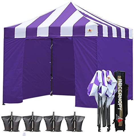 ABCCANOPY Canopy Tent Canopy 10×10 Pop Up Canopies Commercial Tents with 6 Removable Sidewalls and Roller Bag Bonus Weight Bags, Purple with Purple Wall