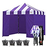 ABCCANOPY 10 X 10 Carnival Ez Pop up Canopy Tent Commercial Instant Gazebos with 6 Removable Sides and Roller Bag Bonus 4X Weight Bag (Carnival Purple Roof with Purple Walls) Review