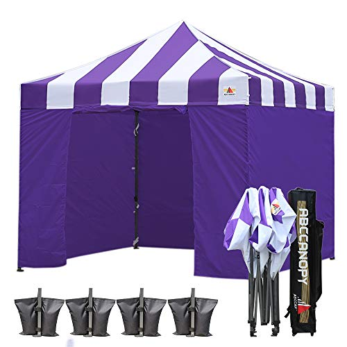 ABCCANOPY 10 X 10 Carnival Ez Pop up Canopy Tent Commercial Instant Gazebos with 6 Removable Sides and Roller Bag Bonus 4X Weight Bag (Carnival Purple Roof with Purple Walls)