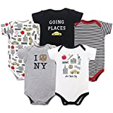 HUDSON BABY Unisex Baby Cotton Bodysuits, New York City 5 Pack, 18-24 Months (24M)